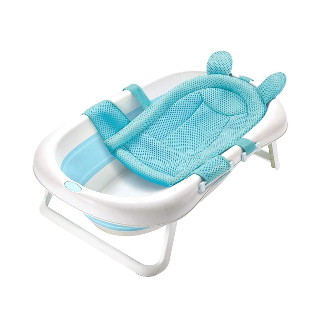 携帯用子供の折りたたみ浴槽、赤ん坊の大容量の入浴スパ浴槽、ブルーピンク (色 : Blue B)  Blue B B07NPLD6WT
