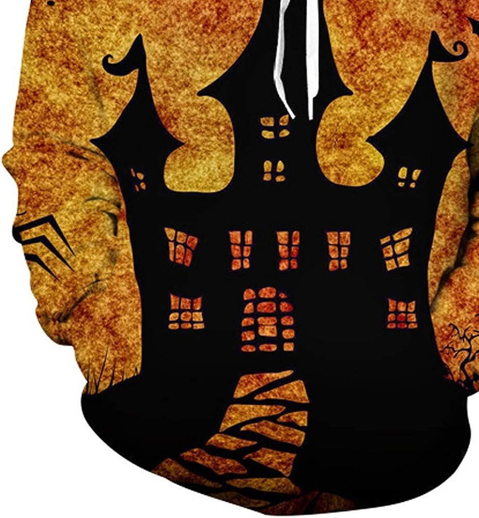 NIUQI Halloween Women Men Couples Blood Print Long Sleeve Hoodie Sweatshirt Pullover