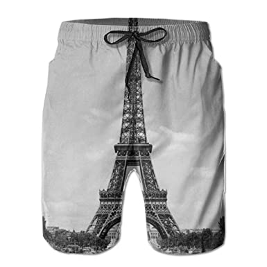 81d4d3f2ae The Eiffel Tower Black And White Men's Swim Trunks Loose Summer Beach Shorts  Surfing Home Shorts | Amazon.com