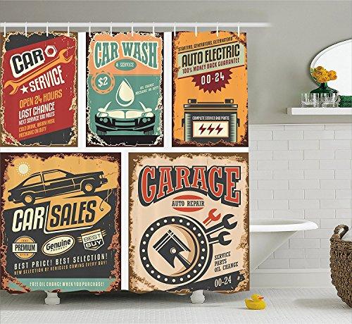 [Vintage Decor Shower Curtain Nostalgic Art Auto Service Garage Funk Style Highway Logo Repair Road Grunge Decor Fabric Bathroom Decor Set with Hooks] (Vintage Pin Up Girl Costume Ideas)