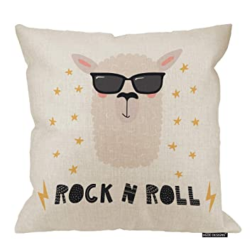 HGOD DESIGNS Llama Throw Pillow,Cool Funny Llama in A Sunglasses with Quote Rock N Roll Decorative Cushion Cover Cotton Linen Square Throw Pillow ...