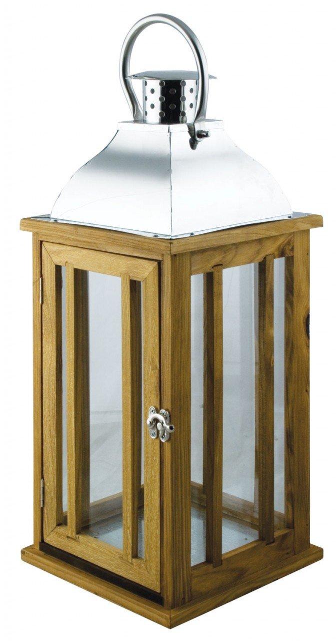 52cm LARGE Wood U0026 Chrome Lantern Candle Holder ~ Garden Or Indoor:  Amazon.co.uk: Garden U0026 Outdoors
