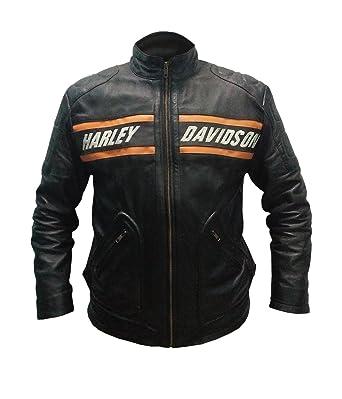 L Veste Homme en Cuir V/éritable De Moto De Style Mickey Rourke Couleur Orange