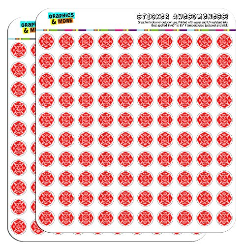 "Firefighter Firemen Maltese Cross Red 1/2"" (0.5"") Planner Calendar Scrapbooking Crafting Stickers - Clear"