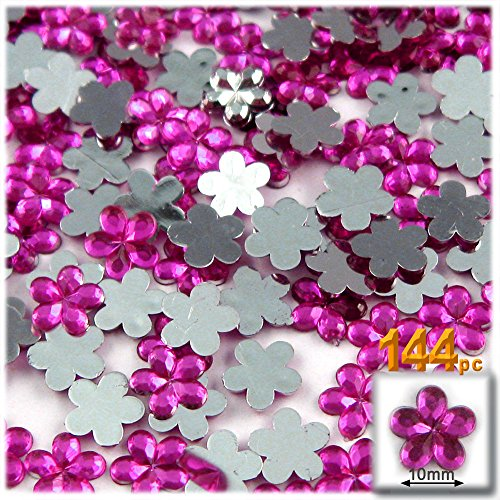 The Crafts Outlet 144-Piece Acrylic Aluminum Foil Flat Back Flower Rhinestones, 10mm, Hot Pink Fuchsia
