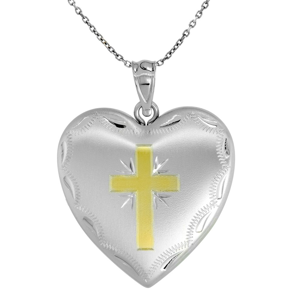 Sterling Silver Heart Locket Necklace 4 Picture Gold Cross, 16 inch Boston Chain