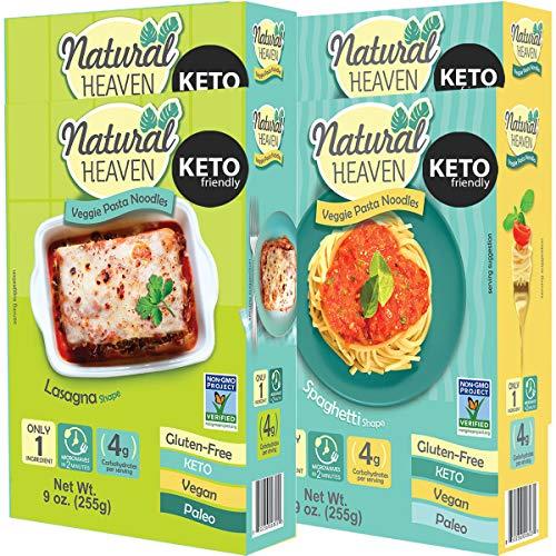 Natural Heaven   2 Spaghetti   2 Lasagna Hearts of Palm Noodles - Low Carb, Gluten Free, Keto Friendly, Vegan, Paleo, Non Gmo, High Fiber, Plant Based, Keto Food, Keto Noodles 4 Count 9 oz