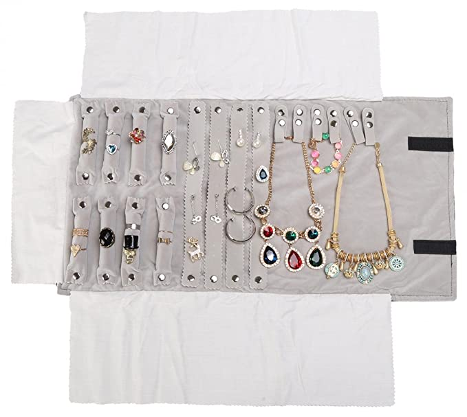 3025f9cf7 WODISON Suede Travel Jewelry Roll up Bag Case Rolling Ring Necklace Earring  Organizer Large