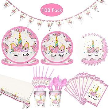 Amycute 108 Piezas Unicornio Party Set de cumpleaños vajilla ...