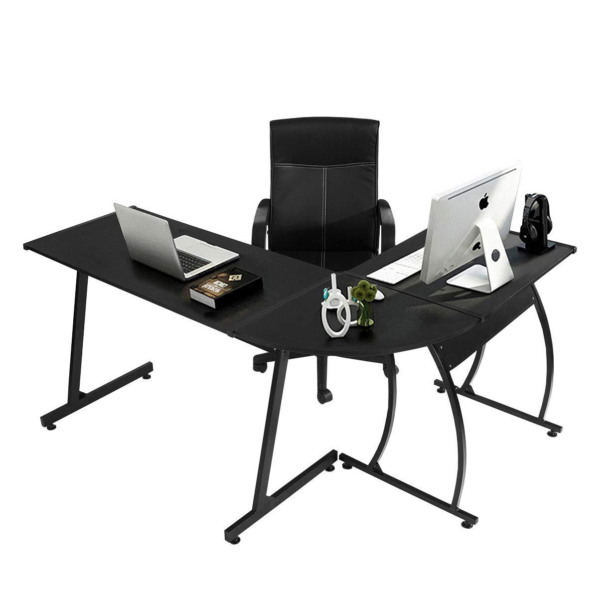 Scrivania da ufficio Coavas ad angolo in legno Scrivania grande per PC Scrivania da gioco Scrivania da lavoro 148x112x74 cm Nero