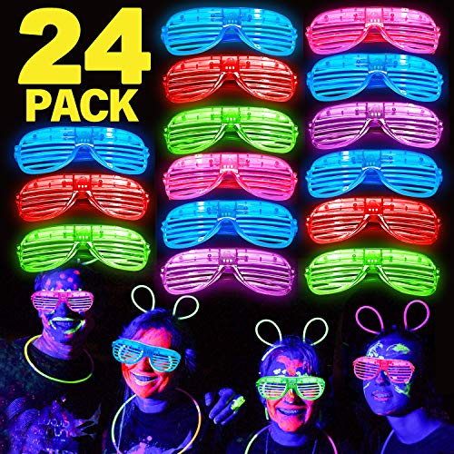 24 Pack LED Light Up Glasses Glow in
