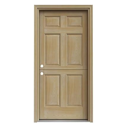 Dutch Hemlock 6 Panel Unfinished Wood Entry Door With Primed
