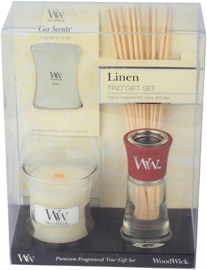 Woodwick Gift Set - Mini Candle, Reed Diffuser & Car Scent (Linen)