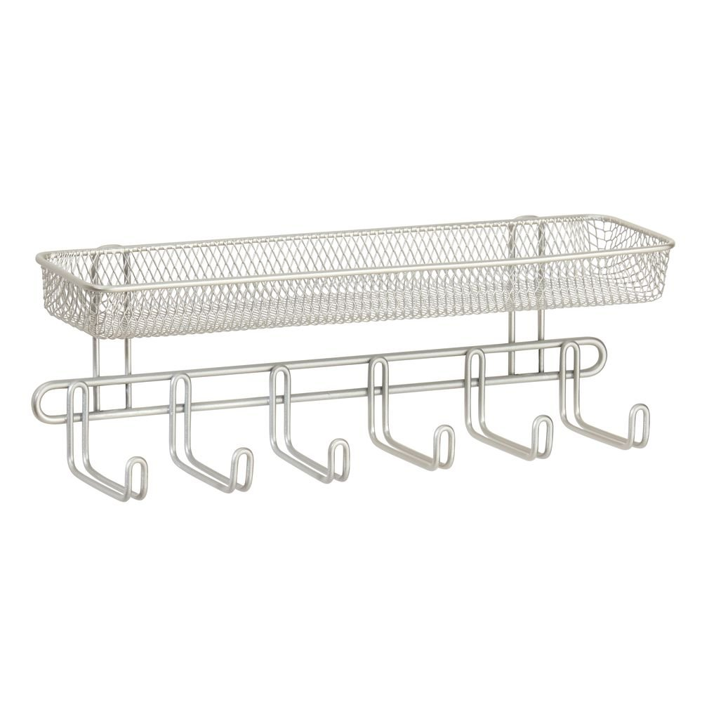 InterDesign Classico Wall Mount Entryway Organizer – Hanging Hooks and Storage Basket for Keys, Hats, Cell Phones or Sunglasses, Satin by InterDesign