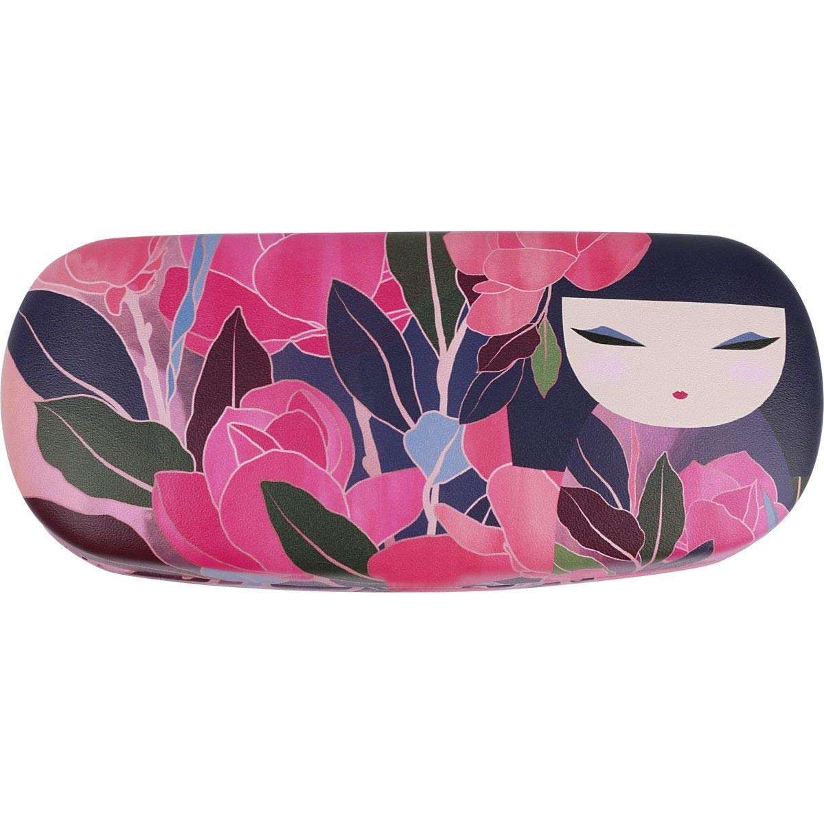 Handmade Russian Glasses case for women, on a solid basis, pink with color print by RuPost