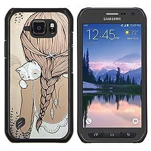 Stuss Case / Funda Carcasa protectora - Ponytail Cat Beige robe douce - Samsung Galaxy S6Active Active G890A