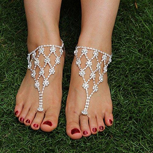 JEWSUN Rhinestone Barefoot Bridemaids Anklet%EF%BC%882PC%EF%BC%89 product image
