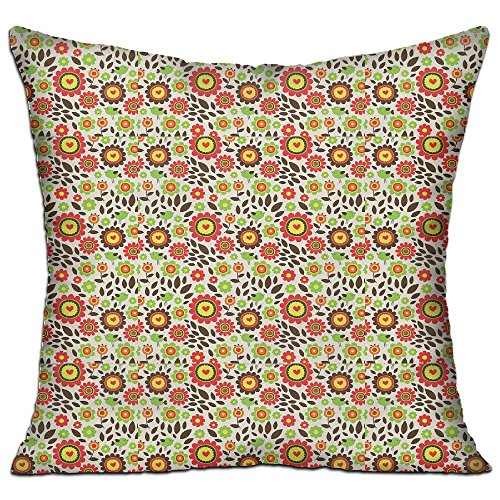 Mokjeiij Childlike Drawing Of Summer Garden With Colorful Flowers Cute Birds Fallen Leaves Thanksgiving Pillow Cover Sofa Bed Decoration Square Cushion 1818.
