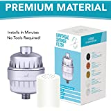 Premium Universal Polished Chrome Shower Head Filter For Hard Water, Chlorine & Other Harsh Chemicals - FREE Pre-Installed Replaceable 5 Stage Shower Water Filter Cartridge