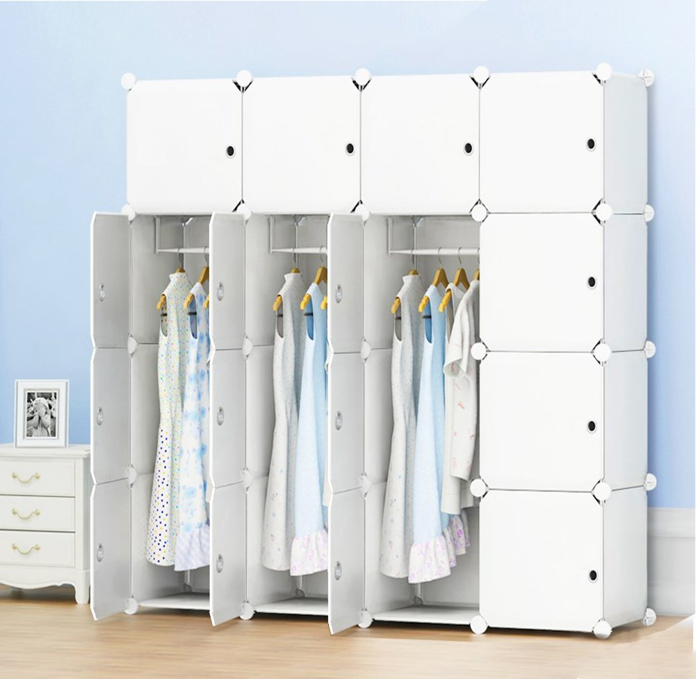 PREMAG Portable Wardrobe for Hanging Clothes, Combination Armoire, Modular Cabinet for Space Saving, Ideal Storage Organizer Cube Closet for books, toys, towels(10-Cube, Extra Stickers Included)
