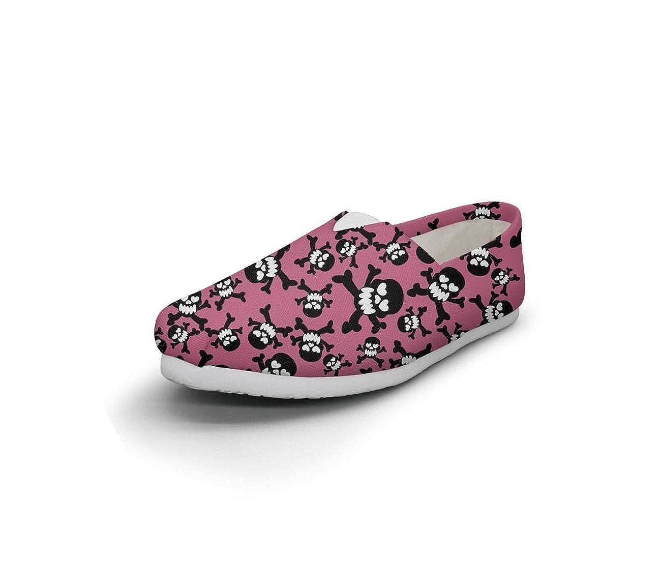 HappyWomen Skull DeviantArt Design Fairytale Princess Womens Comfort Flat Walking Sneakers Girls Espadrille Flats
