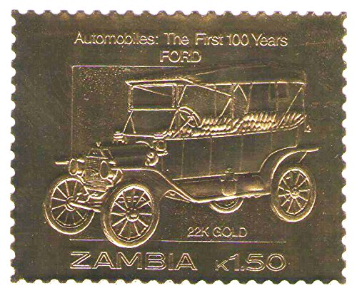 22K Carat Gold Leaf auto 100 classic car stamps FORD / 1987 / Zambia / MNH