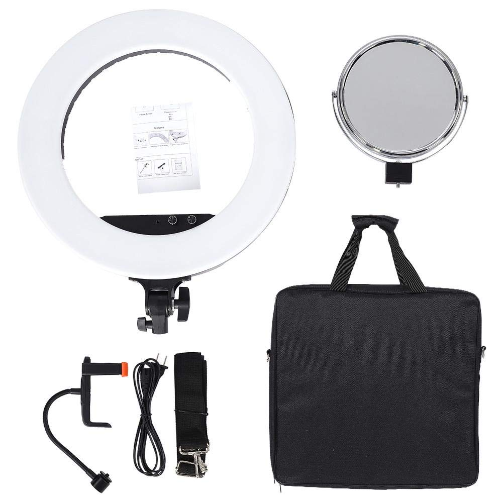 fosa Selfie Ring Light Mini 480LED Ring Shape Cell Pone Fill Light with Cell Phone Clip Portable Strap Carrying Bag Supplement Selfie Video Lamp for Live Stream Makeup LR-980A by fosa (Image #2)