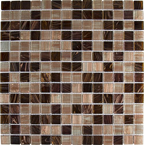 M S International Treasure Trail Iridescent 12 In. X 12 In. X 4mm Glass Mesh-Mounted Mosaic Tile, (20 sq. ft, 20 pieces per - Iridescent Bathroom Tile