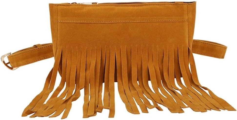 Black Everpert Retro Tassel Women Scrub Leather Waist Fanny Packs Sling Chest Bags