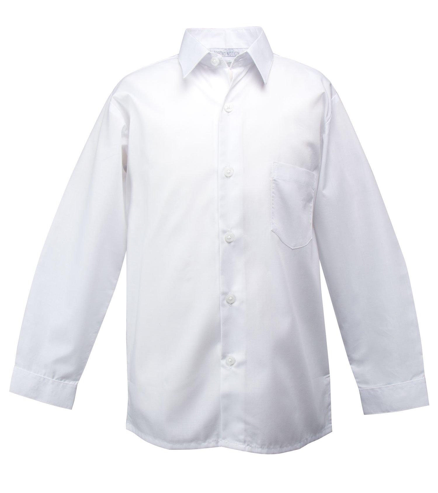 Spring Notion Big Boys' Long Sleeve Dress Shirt 14 White