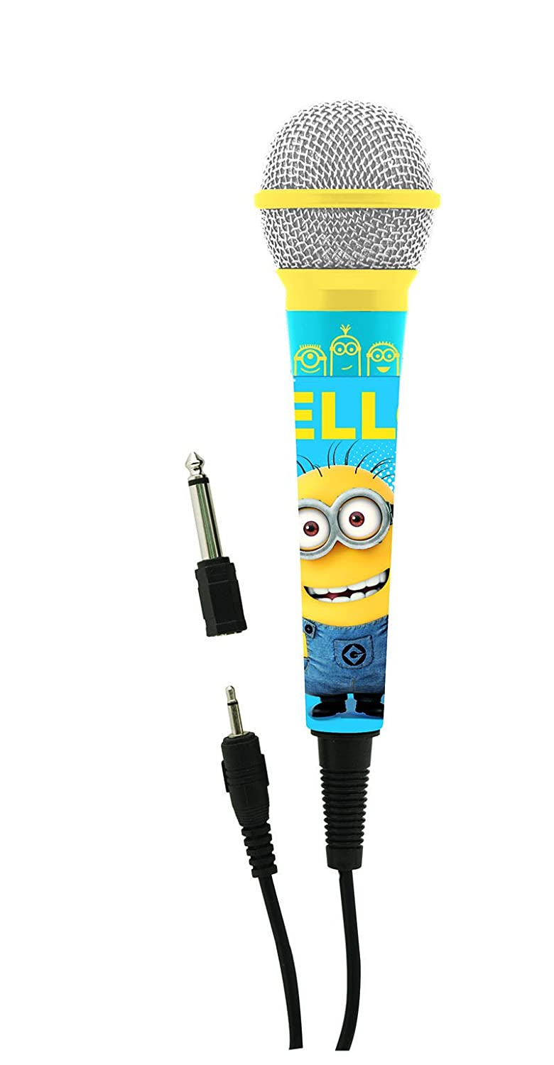 Lexibook Universal Despicable Me Minions Microphone , 3,5 Jack and 6,3 mm adapter, High sensitivity, For Kids and Karaoke, Blue/Yellow, MIC100DES Illumination Mc Guff