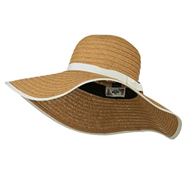 5fc2b77d6 Big Floppy Hat with Coconut Ring Band - White OSFM at Amazon Women's ...
