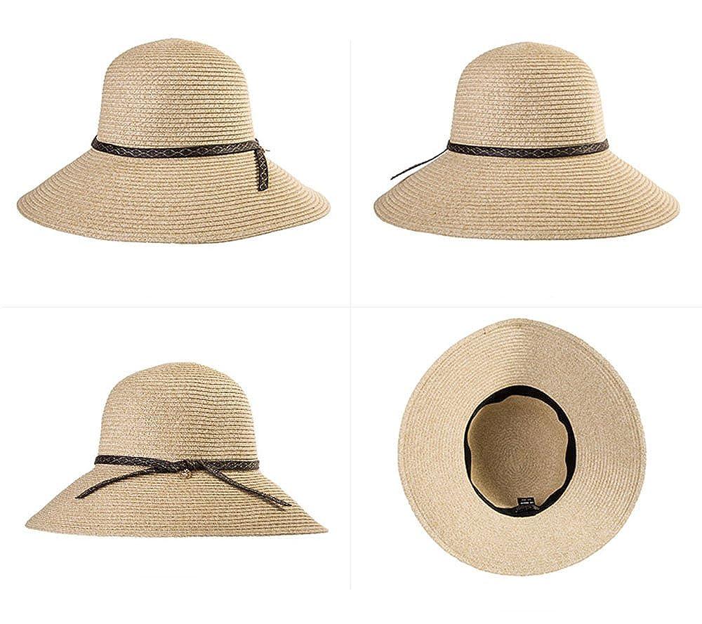 Siggi Femme Chapeau de Paille Pliable Capeline Tresse /Ét/é Fedora Pare-Soleil Large Bord Plage Voyage