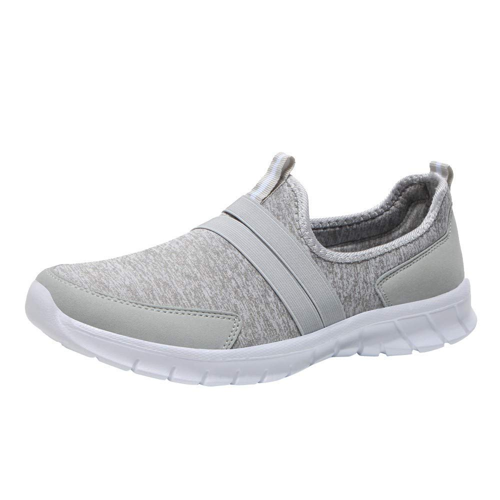 Spring Summer Fashion Solid Mesh Soft Round Head Bottom Set Foot Casual Sports Shoes Lazy Shoes Sneakers Gray by Rmeioel