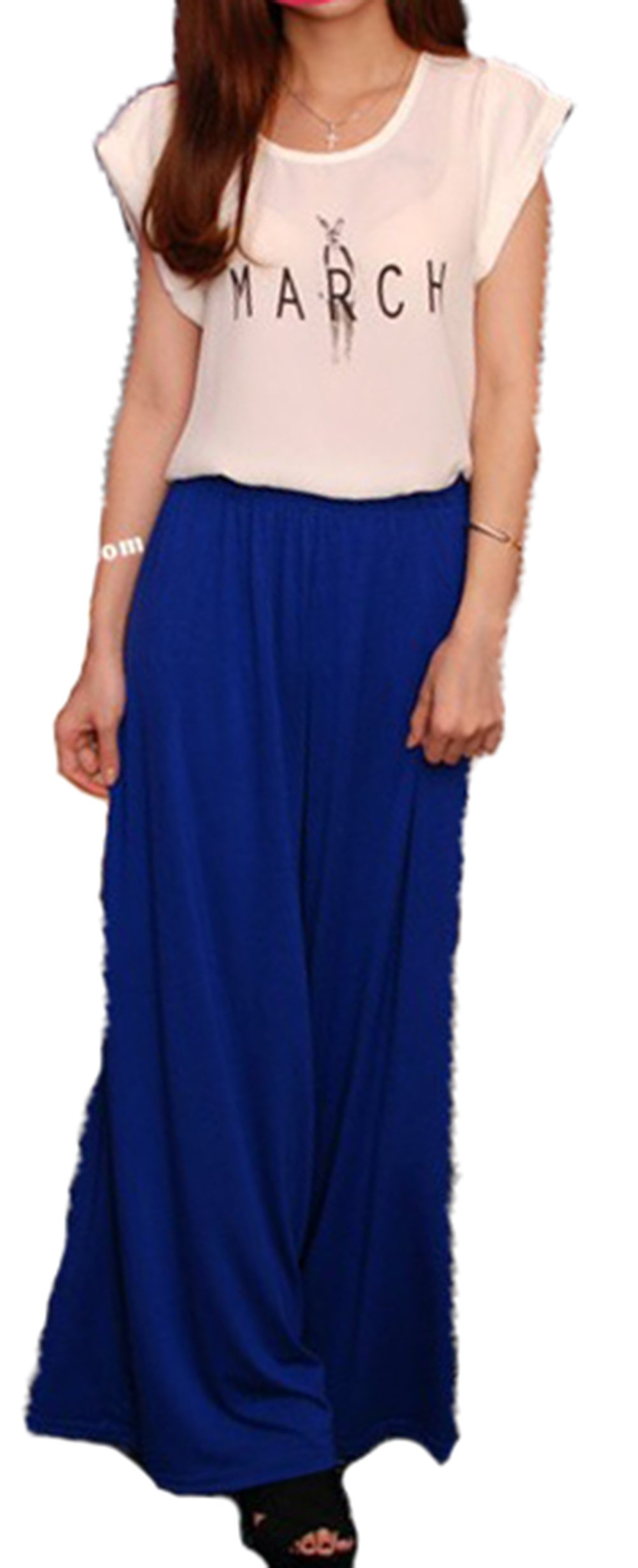 WHMAXIM Womens Fashion Style Chiffon Culottes Loose Wide Leg Pants (Blue)