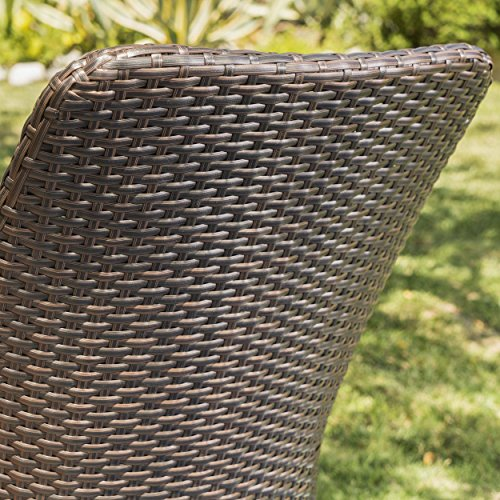 Christopher Knight Home Desmond Wicker Outdoor Dining Chairs Set of 2 Perfect for Patio in Multibrown with Light Brown Finish