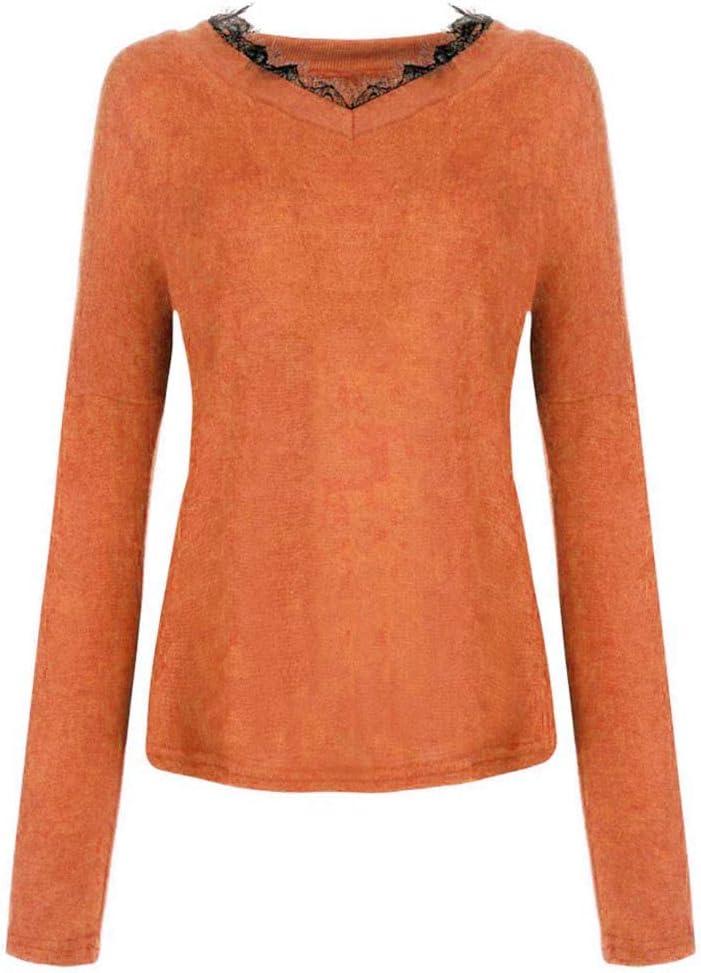 Futurelove Womens V Neck Long Sleeve Lace Knit Tops Off Shoulder Oversized Pullover Sweater Orange