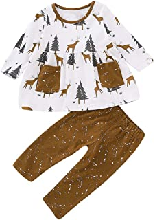 24 Mesi Natale Tutine Neonato ASHOP Vestito Ragazzo Bambino Maglietta A Maniche Lunghe per Bambini Christmas Deer Elk Tree Print Top Pants Bianca 6 Mesi