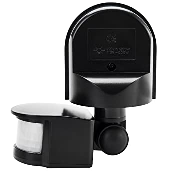 Sensor Movimiento Interruptor crepuscular Sensor de presencia de exterior interior impermeable IP44 Negro