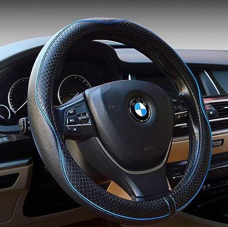 Cubierta del volante universal 15 pulgadas-cuero reAlzado, respirable, antideslizante e inodoro cuatro