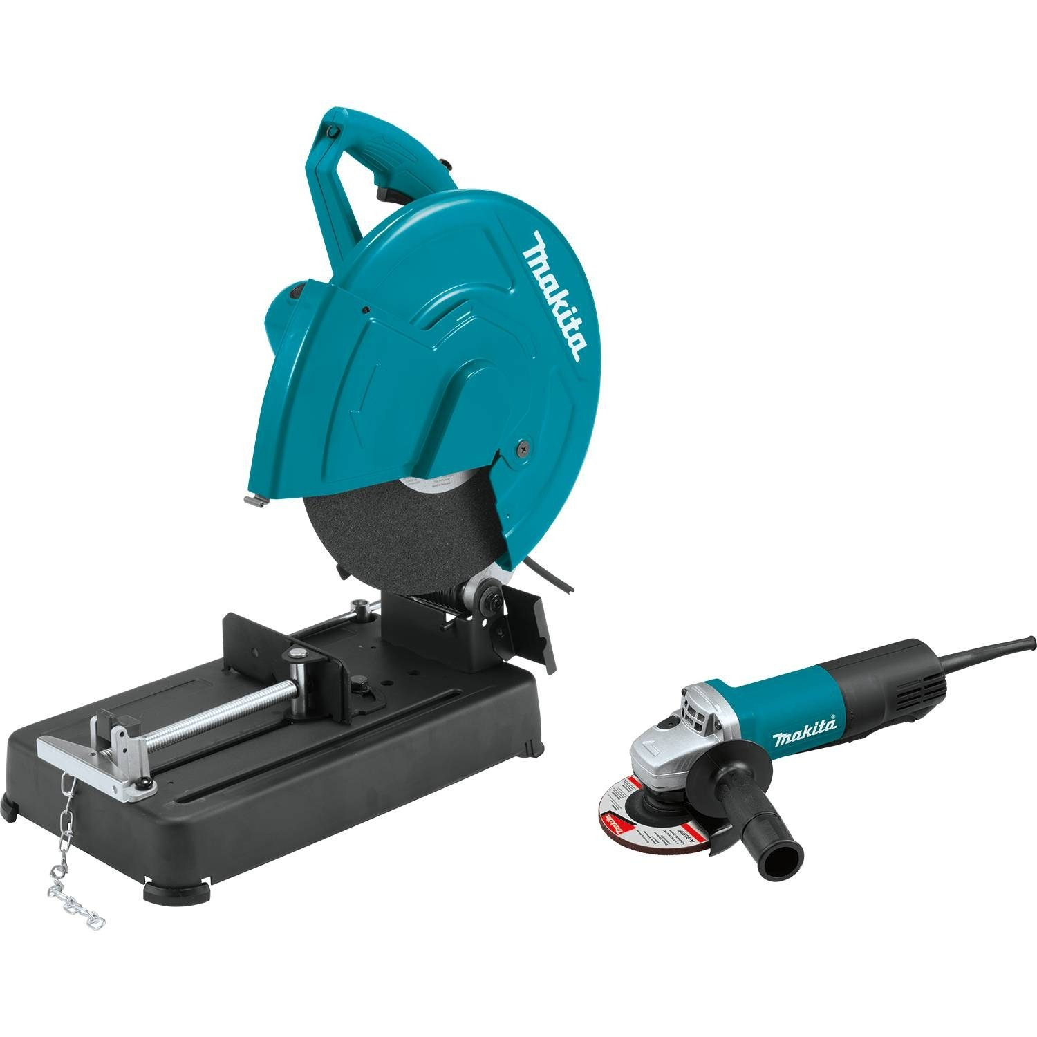 Makita LW1401X2 14'' Cut-Off Saw with 4-1/2'' Paddle Switch Angle Grinder