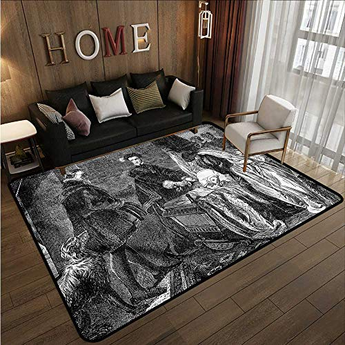 Non-Slip Rug Victorian Queen Leaving The Castle Ideal Gift for Children 6'6