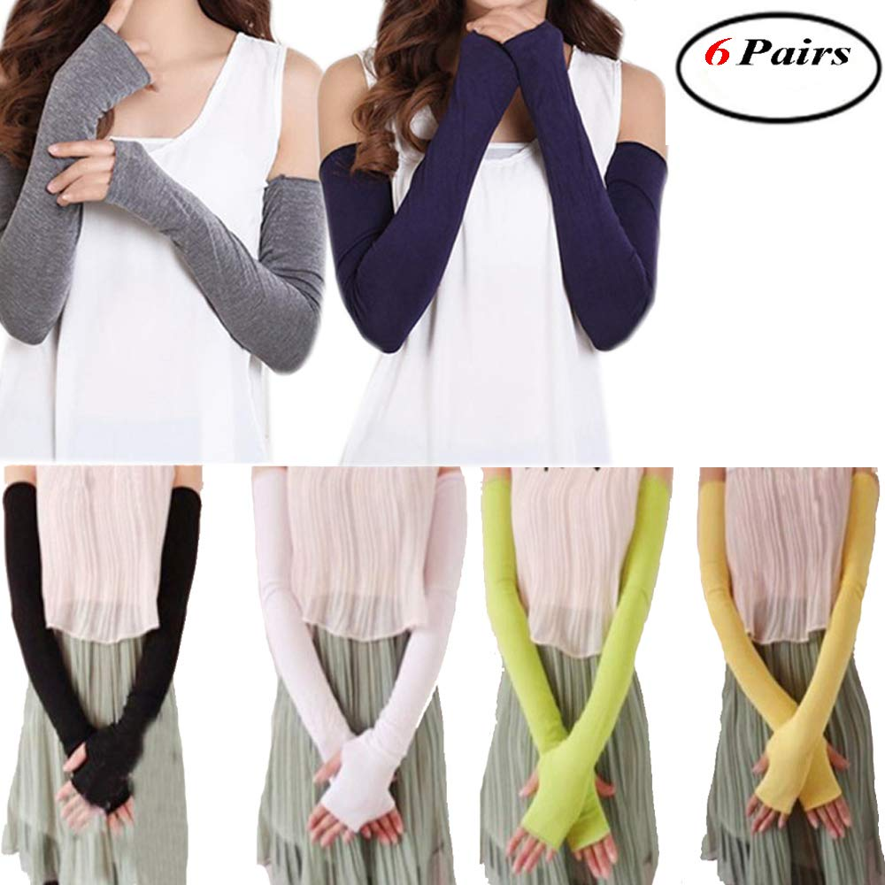 6 Pairs Women Cotton UV Protection Arm Warmer Long Fingerless Gloves Sleeves Okdeal