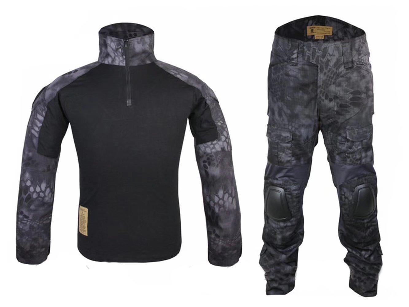 WorldShopping4U Herren Army Military Softair Paintball Kriegsspiele und Shooting Gen2 G2 Tactical BDU Combat Uniform Hemd & Hose Anzug Mit Ellenbogenschützer & Knie Pads