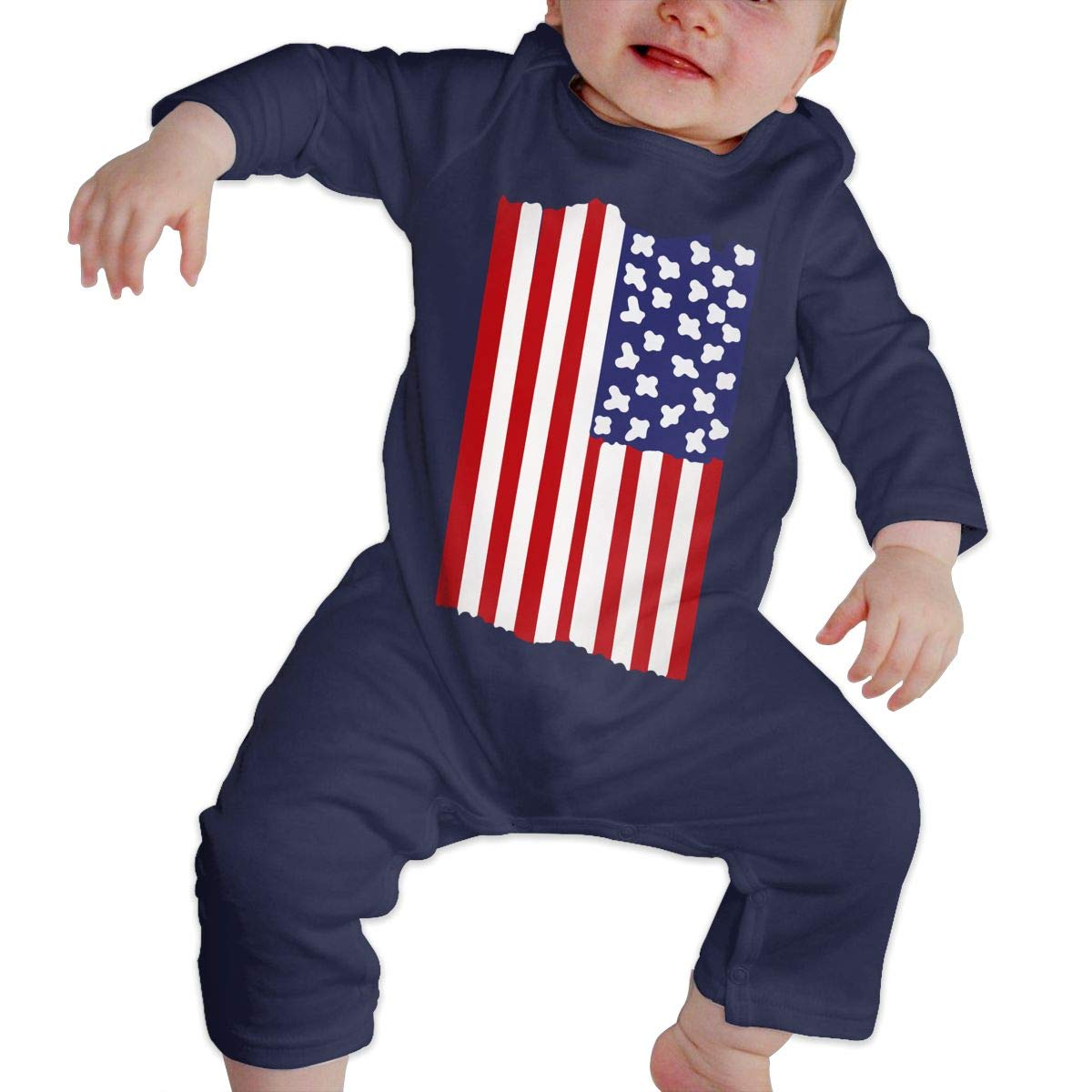LBJQ8 American Flag Vertical Baby Boys Soft /& Breathable Bodysuit Jumpsuit Outfits