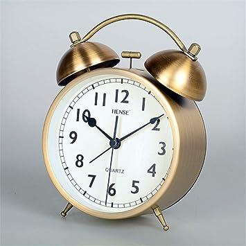 LTOOD Timbre mecánico Reloj Despertador Estudiante Mesa de Noche Reloj de Mesa de Dibujos Animados niños pequeños Reloj de Escritorio Mudo Luminoso ...