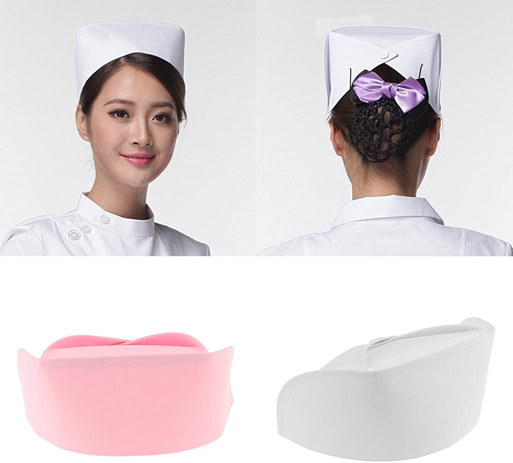 Prettyia Women Plain Nurses Hat Doctor Nurse Dr Fancy Dress Costume Accessory Cap Gift