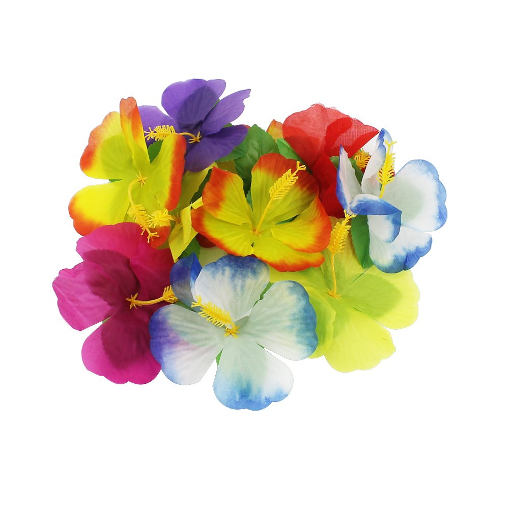 BAKHUK 1Pack 9ft Hawaiian Table Hula Grass Skirt with Little Flowers and 30Pcs Hibiscus Flowers for Tabletop Decoration, Party Decoration, Birthdays, Celebration by BAKHUK (Image #3)