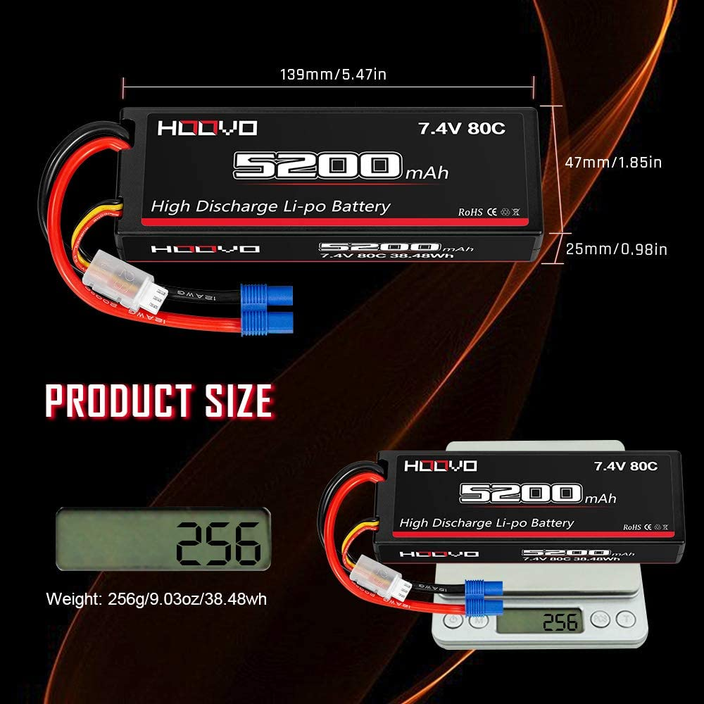 HOOVO 7.4V 5200mAh 80C 2S Lipo Battery Hard Case with EC3 Plug for Popular RC Car RC Helicopter Quadcopter UAV Drone FPV Traxxas Slash Buggy Team Associated 2 Packs