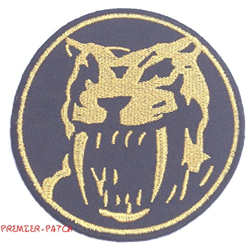 Mighty Morphin Power Rangers Embroidered Iron on Patch / Yellow Ranger Logo Badge Applique Sabre Tooth Tiger Costume Fancy Dress ()